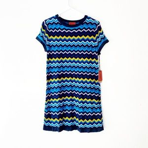 Missoni Chevron Pattern Short Sleeve Knit Dress